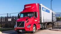Averitt Express truck at a security gate