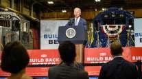 President Joe Biden at a New Jersey Transit rail maintenance facility in Kearny, N.J., Oct. 25