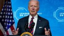 President Joe Biden speaks to the virtual Leaders Summit on Climate from the White House on April 22.