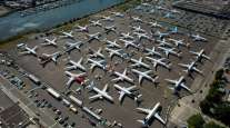 Boeing 737 Max planes are seen parked on Boeing property in August 2019 in Seattle.