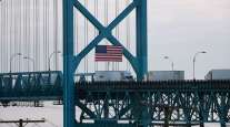 Trucks cross the Ambassador Bridge