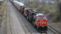 A Canadian National Railway locomotive pulls a train in Montreal, Quebec