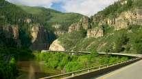 Interstate 70 stretching through Glenwood Canyon near French Creek, Colorado