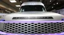 A Daimler AG Freightliner Cascade Evolution concept autonomous truck stands on display. (Krisztian Bocsi/Bloomberg News)