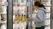 Milk case in grocery store