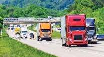 Truck traffic on interstate highway