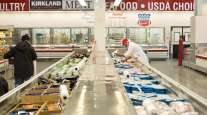 People at a Costco store