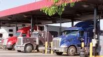 Trucks fill up on diesel