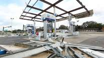 A Chevron gas station is wrecked in Leesburg, Fla. on Monday, Sept. 11, 2017.