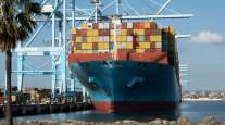 The Maersk Essex cargo ship sits docked at the Port of Los Angeles in March. (Bing Guan/Bloomberg News)