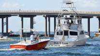 Boats leaving the gulf before Hurricane Michael hits