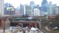 Traffic on Kennedy Expressway into Chicago