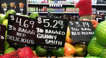 Higher produce prices at a supermarket