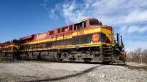A Kansas City Southern locomotive passes through Knoche Yard in Kansas City, Mo.
