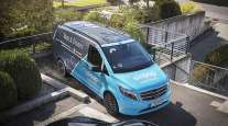 Delivery drone above a Mercedes-Benz Vito van