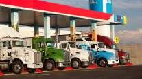 NG trucks at a Blu LNG fueling station