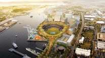 An artist's rendering of what a ballpark would look like at the Howard Terminal site