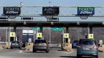 Ohio Turnpike toll booth in Streetsboro, Ohio