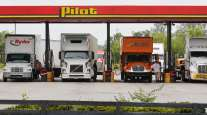Trucks fuel up at a Pilot Flying J