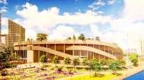 Artist rendering for proposed Oakland ballpark