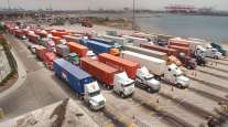Trucks at the Port of Long Beach, Calif.