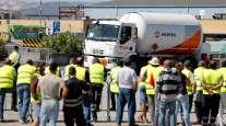 Tank truck drivers on strike in Lisbon, Portugal