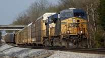 CSX freight locomotives pull a train. (Luke Sharrett/Bloomberg News)