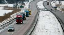 A platoon of Scania trucks