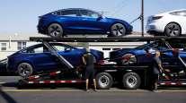 Tesla cars on trailer