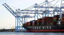 Cargo ship unloads