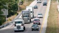 Trucks on a Missouri highway
