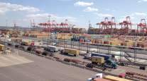 Trucks at the Port of New York and New Jersey
