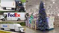 UPS, FedEx and Walmart trucks along with a Christmas tree display