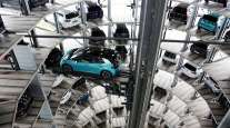 A VW ID.3 electric vehicle is seen inside the company's Autostadt delivery towers in Wolfsburg, Germany.