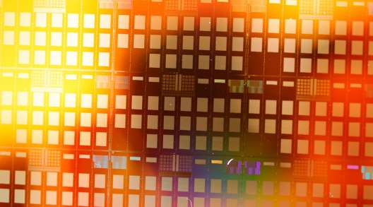 A 300 millimetre semiconductor wafer.