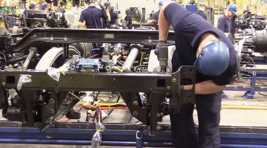Peterbilts on the assembly line