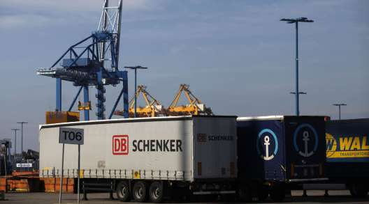 A freight truck operated by DB Schenker stands at the Port of Helsinki in Finland.