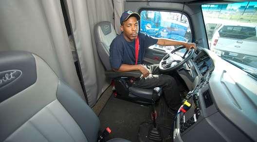 Driver in Peterbilt truck