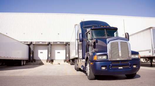 A truck at a loading dock