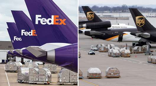 FedEx and UPS airplanes