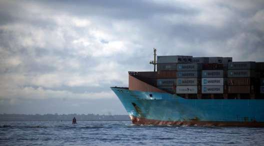 A container ship operated by Maersk leaves the Port of Felixstowe in the U.K. on December 2020. (Chris Ratcliffe/Bloomberg News)