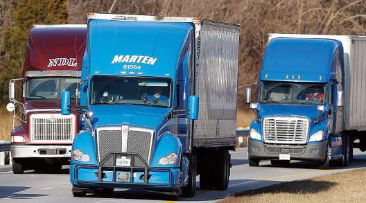Marten Transport truck on highway