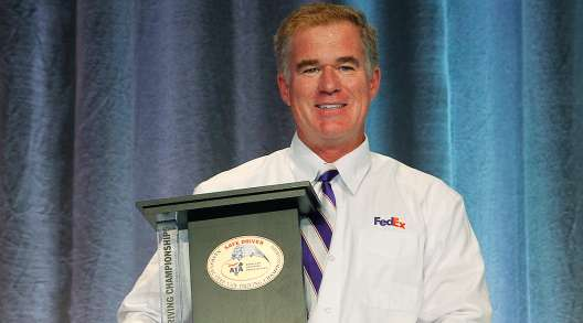 Colorado's Eric Damon of FedEx Express with Step Van trophy