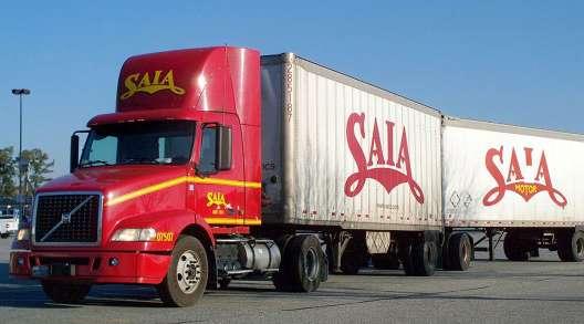 Saia truck with twin trailers