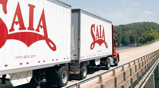 Saia truck with twin trailers