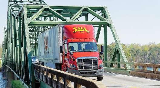 Saia truck crosses bridge