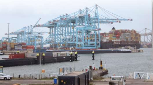 A containership docked at the Port of Rotterdam.