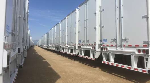 New trailers line up at the Stoughton plant in Stoughton, Wis.