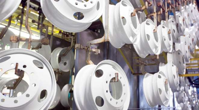 Truck wheels at an Accuride plant