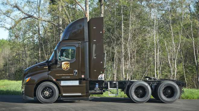 New CNG Freightliner Cascadia truck